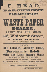 Advert For F. Head Paper Dealer